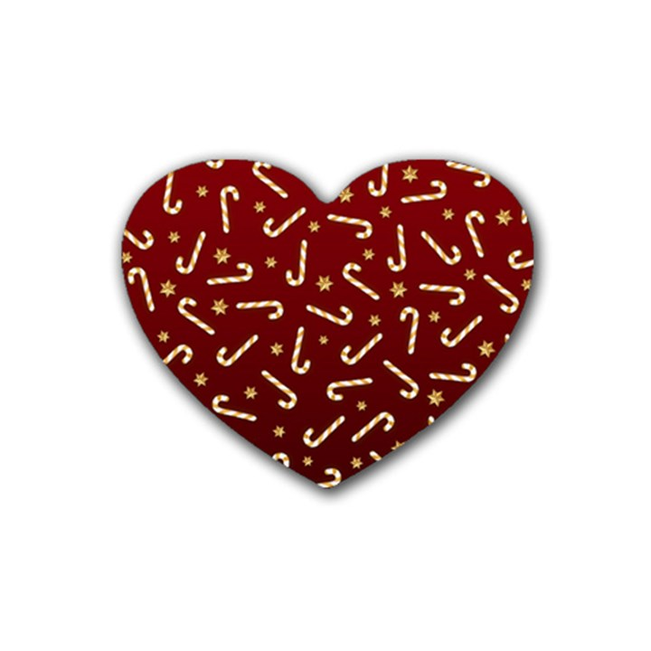 Golden Candycane Red Rubber Coaster (Heart)
