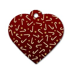 Golden Candycane Red Dog Tag Heart (one Side)