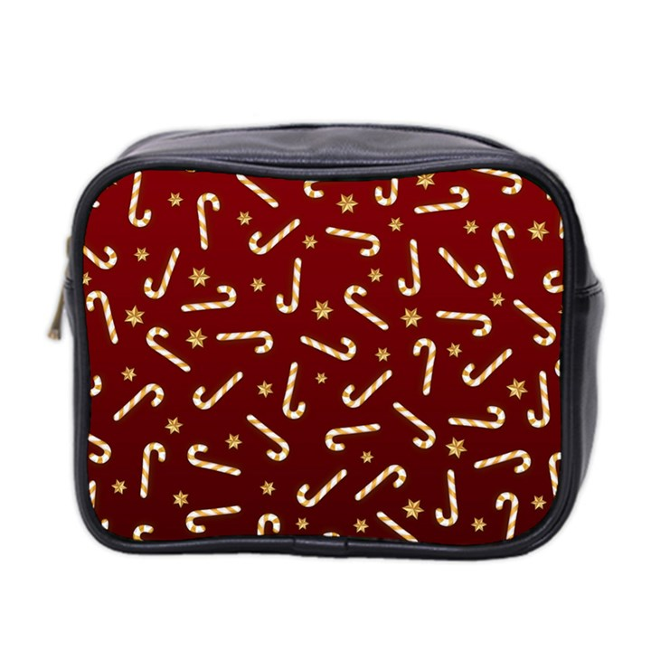 Golden Candycane Red Mini Toiletries Bag 2-Side