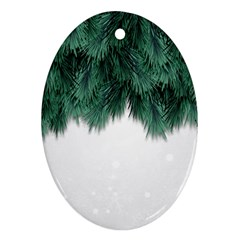 Snow And Tree Oval Ornament (two Sides)
