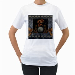 Awesome Tribal Dragon Made Of Metal Women s T Shirt (white) (two Sided)