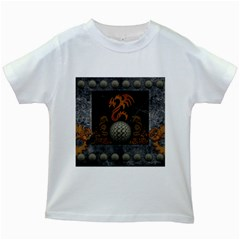 Awesome Tribal Dragon Made Of Metal Kids White T Shirts
