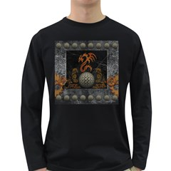 Awesome Tribal Dragon Made Of Metal Long Sleeve Dark T Shirts