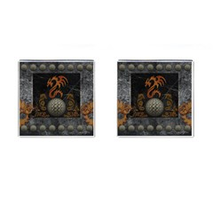 Awesome Tribal Dragon Made Of Metal Cufflinks (square)