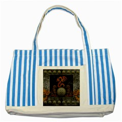 Awesome Tribal Dragon Made Of Metal Striped Blue Tote Bag