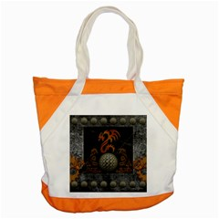 Awesome Tribal Dragon Made Of Metal Accent Tote Bag