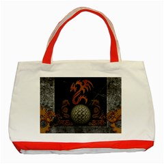 Awesome Tribal Dragon Made Of Metal Classic Tote Bag (red)