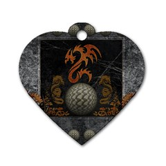 Awesome Tribal Dragon Made Of Metal Dog Tag Heart (one Side)