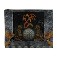 Awesome Tribal Dragon Made Of Metal Cosmetic Bag (xl)