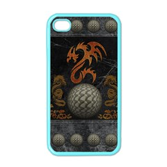 Awesome Tribal Dragon Made Of Metal Apple Iphone 4 Case (color)