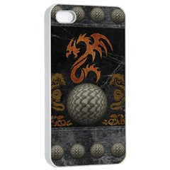 Awesome Tribal Dragon Made Of Metal Apple Iphone 4/4s Seamless Case (white)