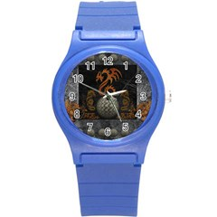 Awesome Tribal Dragon Made Of Metal Round Plastic Sport Watch (s)