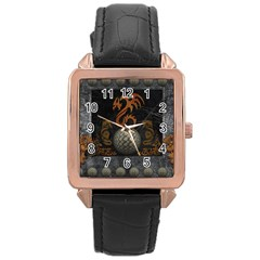 Awesome Tribal Dragon Made Of Metal Rose Gold Leather Watch