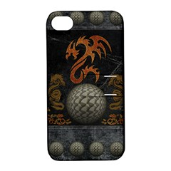 Awesome Tribal Dragon Made Of Metal Apple Iphone 4/4s Hardshell Case With Stand