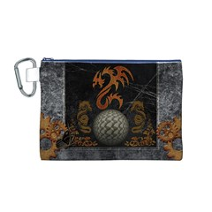 Awesome Tribal Dragon Made Of Metal Canvas Cosmetic Bag (m)