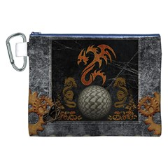 Awesome Tribal Dragon Made Of Metal Canvas Cosmetic Bag (xxl)