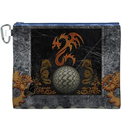 Awesome Tribal Dragon Made Of Metal Canvas Cosmetic Bag (xxxl)
