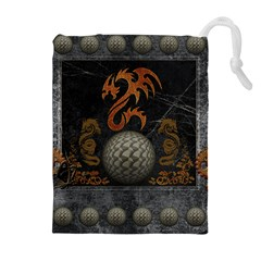 Awesome Tribal Dragon Made Of Metal Drawstring Pouches (extra Large)