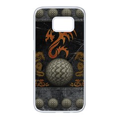 Awesome Tribal Dragon Made Of Metal Samsung Galaxy S7 Edge White Seamless Case