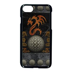 Awesome Tribal Dragon Made Of Metal Apple Iphone 8 Seamless Case (black)