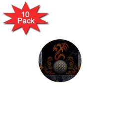 Awesome Tribal Dragon Made Of Metal 1  Mini Buttons (10 Pack)
