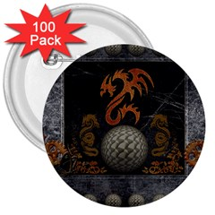 Awesome Tribal Dragon Made Of Metal 3  Buttons (100 Pack)