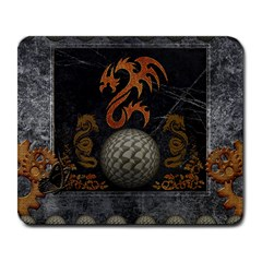 Awesome Tribal Dragon Made Of Metal Large Mousepads
