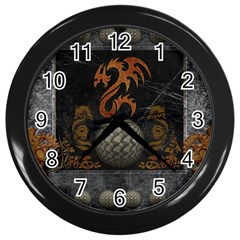 Awesome Tribal Dragon Made Of Metal Wall Clocks (black)