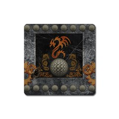 Awesome Tribal Dragon Made Of Metal Square Magnet