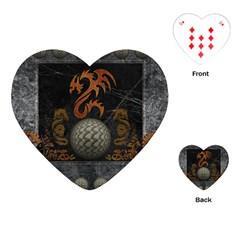 Awesome Tribal Dragon Made Of Metal Playing Cards (heart)