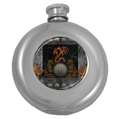 Awesome Tribal Dragon Made Of Metal Round Hip Flask (5 Oz)