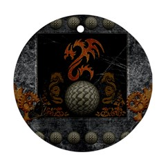 Awesome Tribal Dragon Made Of Metal Round Ornament (two Sides)