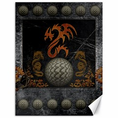 Awesome Tribal Dragon Made Of Metal Canvas 18  X 24