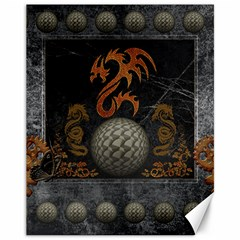 Awesome Tribal Dragon Made Of Metal Canvas 11  X 14