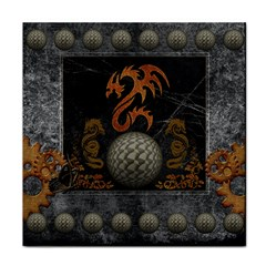 Awesome Tribal Dragon Made Of Metal Face Towel