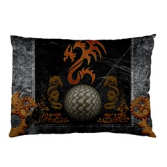 Awesome Tribal Dragon Made Of Metal Pillow Case