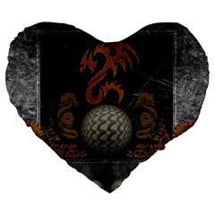 Awesome Tribal Dragon Made Of Metal Large 19  Premium Heart Shape Cushions