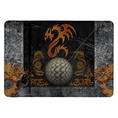 Awesome Tribal Dragon Made Of Metal Samsung Galaxy Tab 8 9  P7300 Flip Case