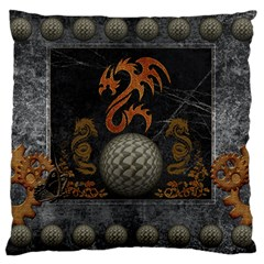 Awesome Tribal Dragon Made Of Metal Standard Flano Cushion Case (one Side)