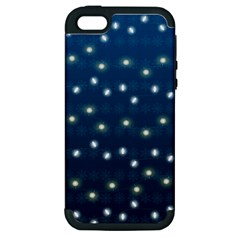 Christmas Light Blue Apple Iphone 5 Hardshell Case (pc+silicone)