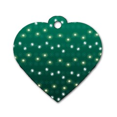 Christmas Light Green Dog Tag Heart (two Sides)