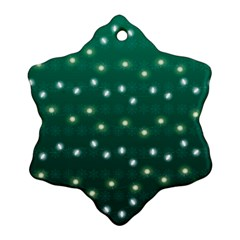Christmas Light Green Snowflake Ornament (two Sides)