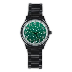 Christmas Light Green Stainless Steel Round Watch