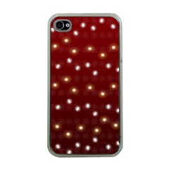 Christmas Light Red Apple Iphone 4 Case (clear)