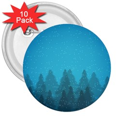 Winter Land Blue 3  Buttons (10 Pack)