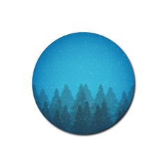 Winter Land Blue Rubber Round Coaster (4 Pack)