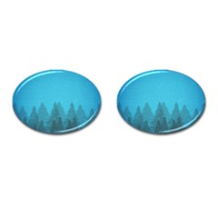 Winter Land Blue Cufflinks (oval)