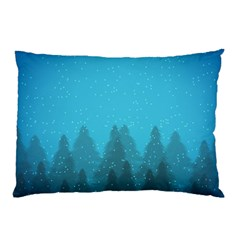 Winter Land Blue Pillow Case (two Sides)