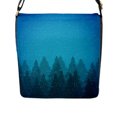 Winter Land Blue Flap Messenger Bag (l)