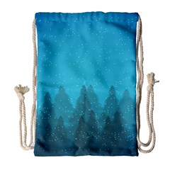 Winter Land Blue Drawstring Bag (large)